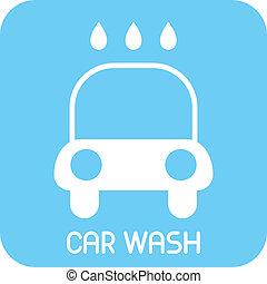 automobile, vettore, -, lavare, icona
