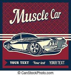 automobile, vettore, muscolo