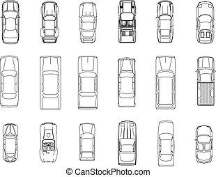 automobile, vettore, piano