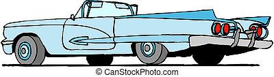 automobile, vettore, retro