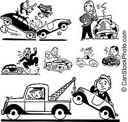 automobile, vettore, retro, incidente, grafica