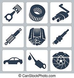 automobile, vettore, set, parti, icone