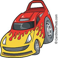automobile, vettore, strada, corsa, illustrazione