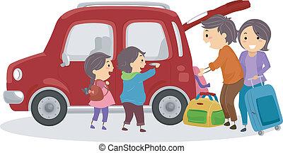 automobile, viaggiante, stickman, famiglia