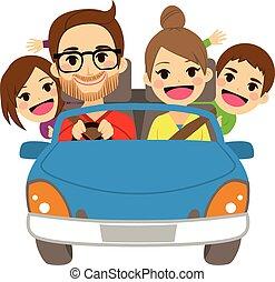 automobile, viaggiare, famiglia, felice