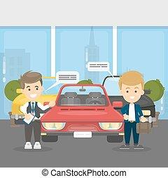 automobili, acquisto, showroom.