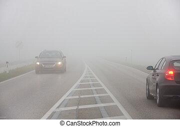 automobili, nebbia, strada