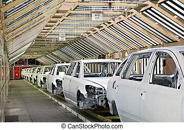 automobili, pianta, fila, automobile
