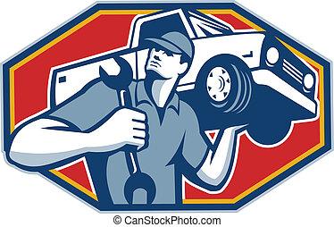 automobilistico, automobile, retro, meccanico, riparazione