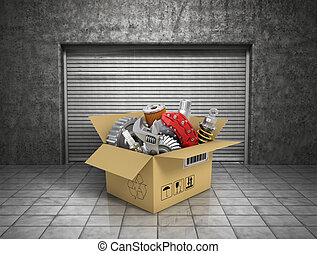 automobilistico, garage., parti, cardbox, shop., auto, cesto