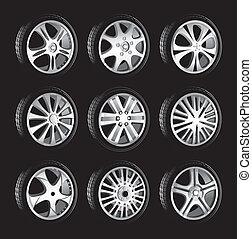 automobilistico, lega, basso, profilo, ruote, ruota, pneumatici