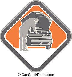 automobilistico, meccanico automobile, woodcut, riparazione