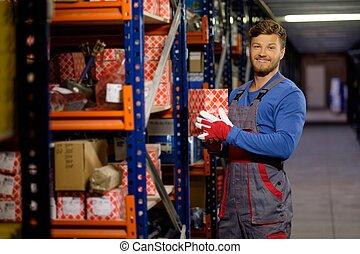 automobilistico, parti, magazzino, lavoratore, risparmiare