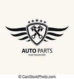 automobilistico, simbolo, ala, icona