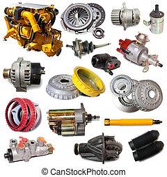 automobilistico, sopra, isolato, parts., set, motore, bianco