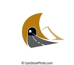 autostrada, strada, icona, sotterraneo, tunnel autostrada