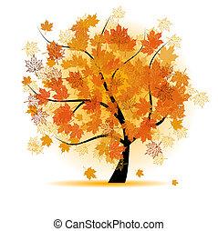 autunno, albero, foglia, acero, cadere