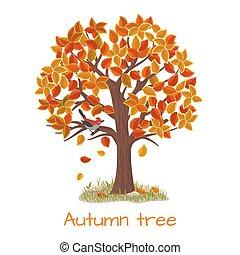 autunno, albero, vettore