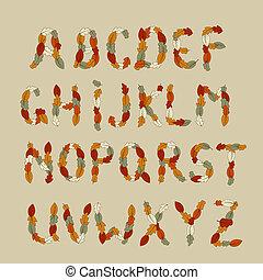 autunno, alfabeto, vettore, latino