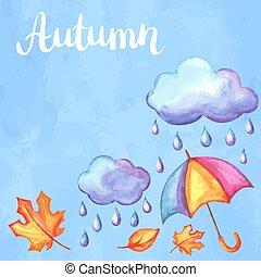 autunno, aquarelle, fondo, elements.
