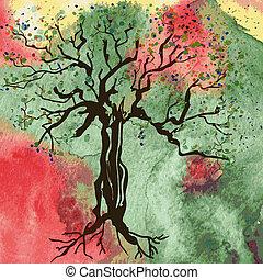 autunno, astratto, albero, acquarello, fondo, scheda