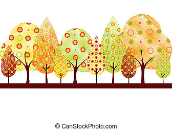 autunno, astratto, albero, cartolina auguri