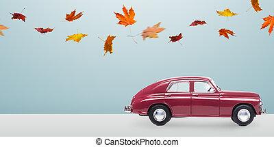 autunno, automobile, minimalistic
