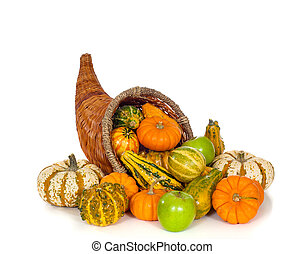 autunno, bianco, cornucopia