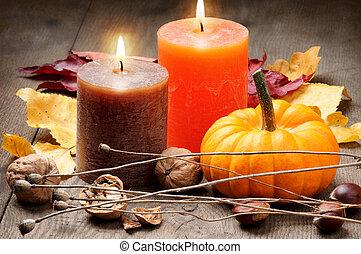 autunno, candele, regolazione, zucca