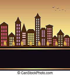 autunno, cityscape, illustrazione
