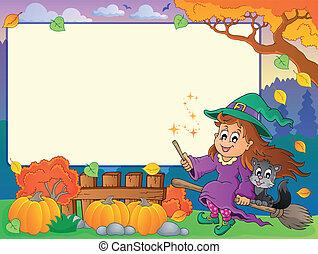 autunno, cornice, 2, halloween, tema