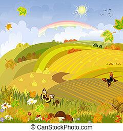 autunno, expanses, funghi, fondo, paesaggio rurale