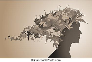 autunno, floreale, ragazza, silhouette