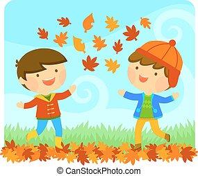 autunno, godere, bambini