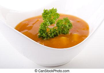 autunno, minestra, bianco, verdura, ciotola
