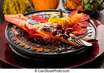 autunno, montaggio tavola, ringraziamento