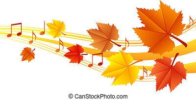 autunno, musica, vettore, -, illustrazione