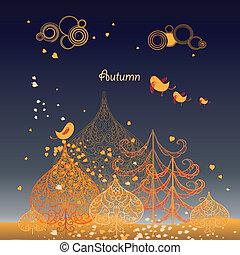 autunno parte, fondo, albero