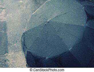 autunno, piovoso, ombrello, giorno, bagnato