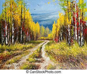 autunno, pittura, olio, -, oro