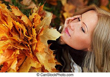 autunno, portret, donna, foglia