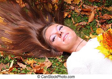 autunno, portret, ragazza, donna, foglia