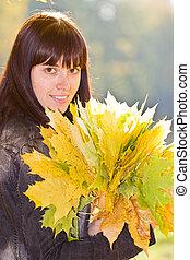 autunno, ragazza, foglie