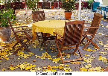 autunno, tavola, terrazzo, vuoto