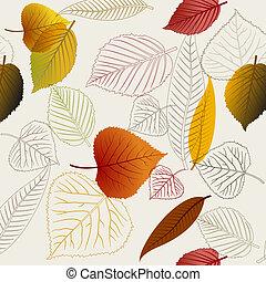 autunno, vettore, mette foglie, struttura