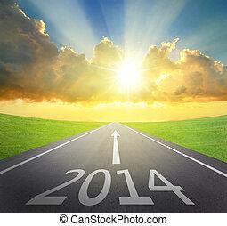 avanti, 2014, concetto, anno nuovo