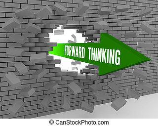avanti, pensare, freccia, parole