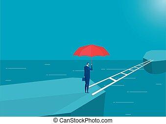 avanti, presa a terra, uomo, rosso, vettore, standing, ombrello, ponte, terra, incrocio, pensare, affari, nuovo