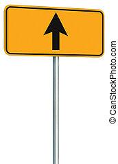 avanti, segno, diritto, isolato, giallo, andare, tracciato, strada