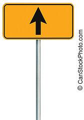 avanti, segno, diritto, isolato, giallo, bordo della strada, andare, tracciato, strada